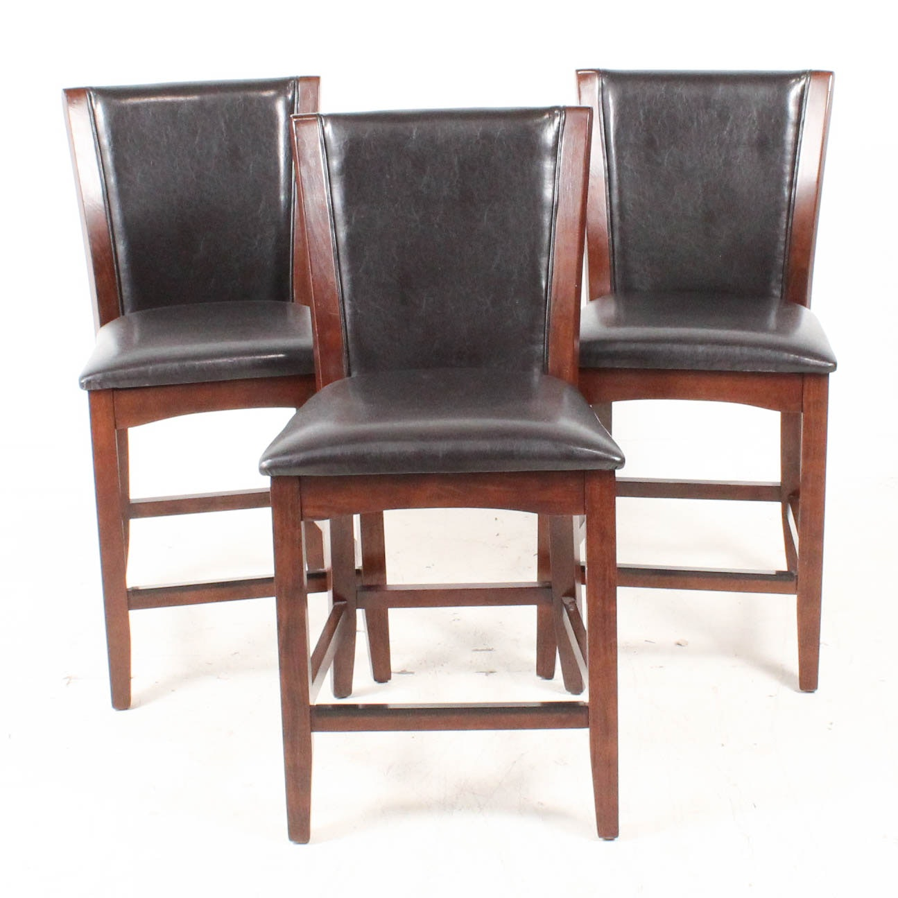Wood Frame Leather Upholstered Counter Height Chairs
