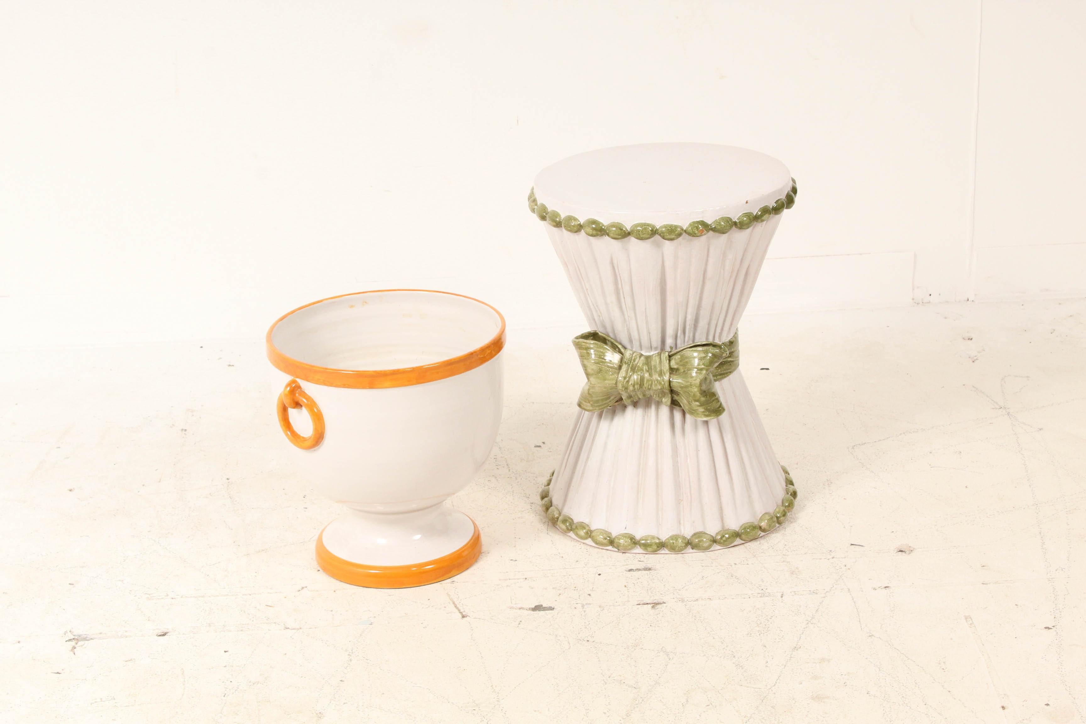 Ceramic Garden Stool and Planter
