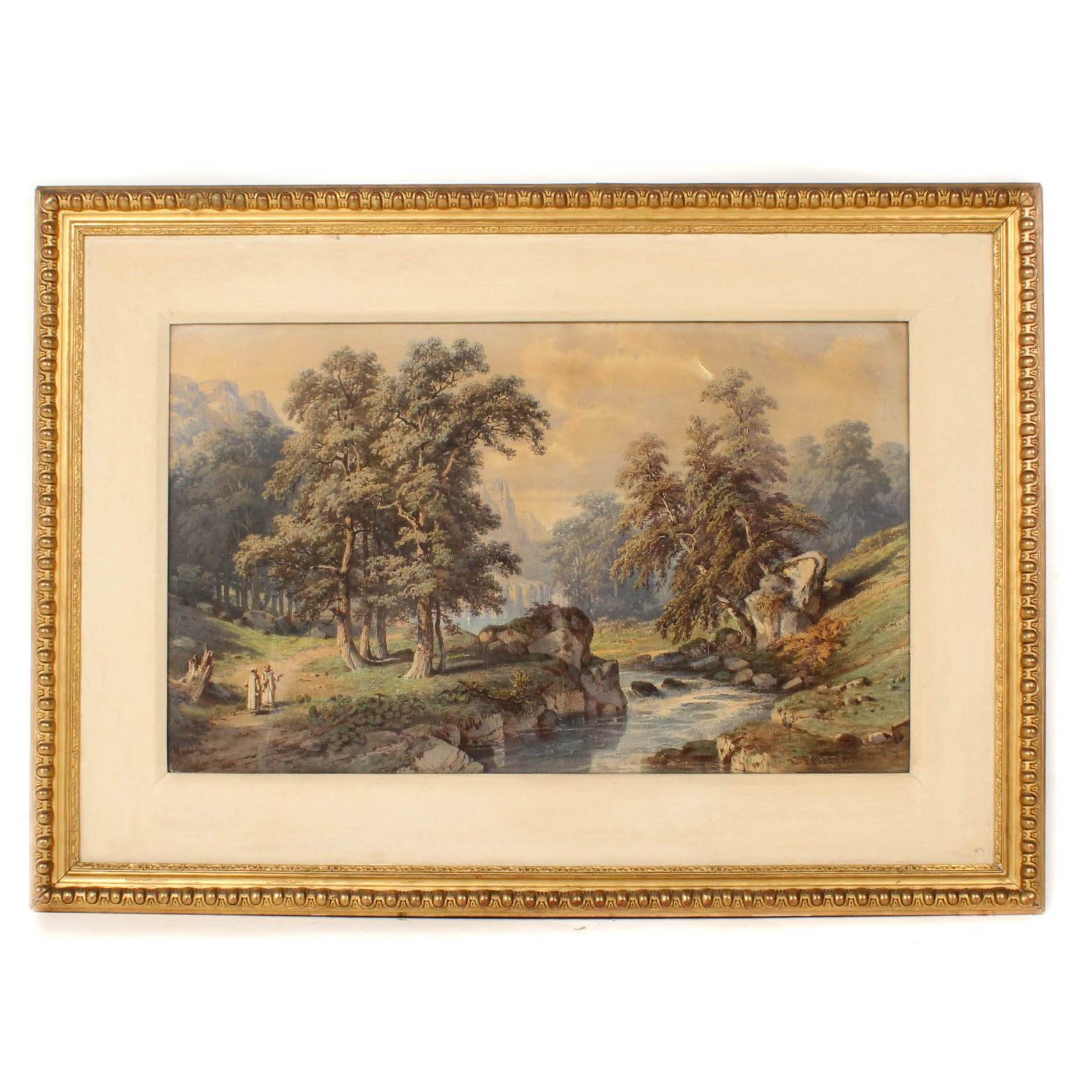 "Antique Charles Pensee ""La Vallee de la Chartreuse"" Watercolor Painting"