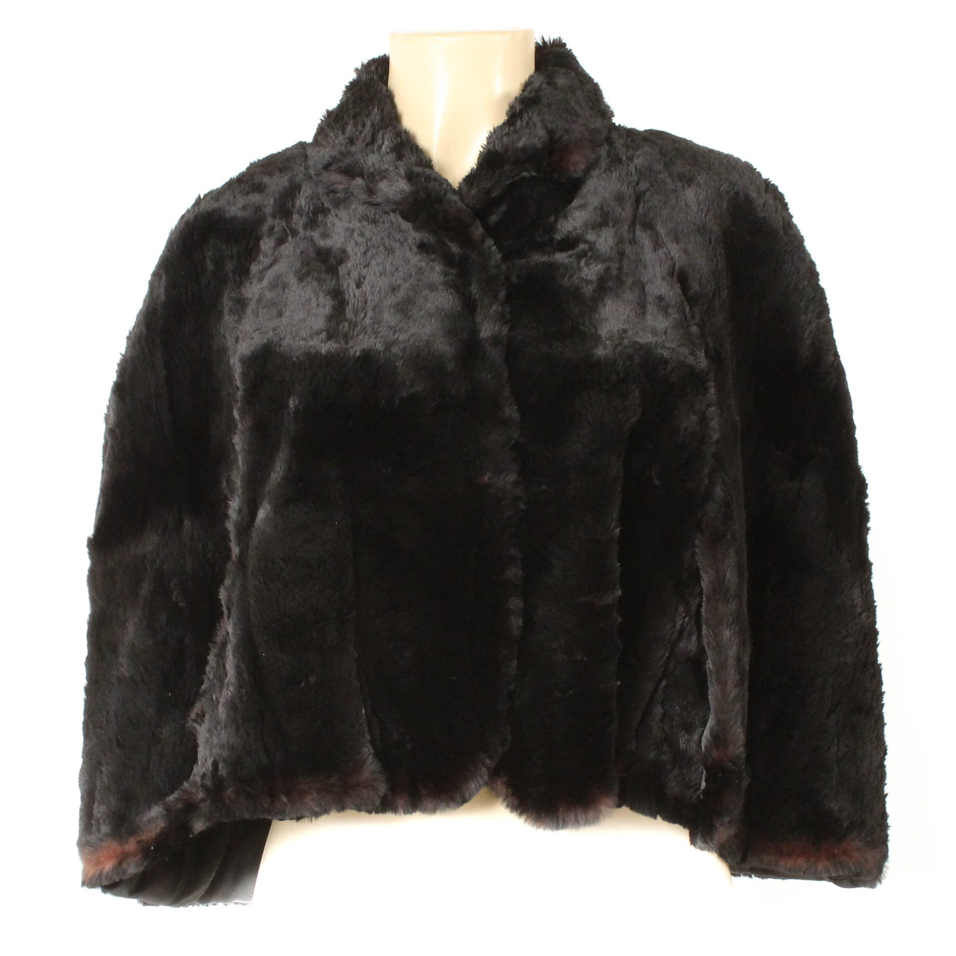 Vintage Mastercraft Dyed Black Rabbit Fur Capelet