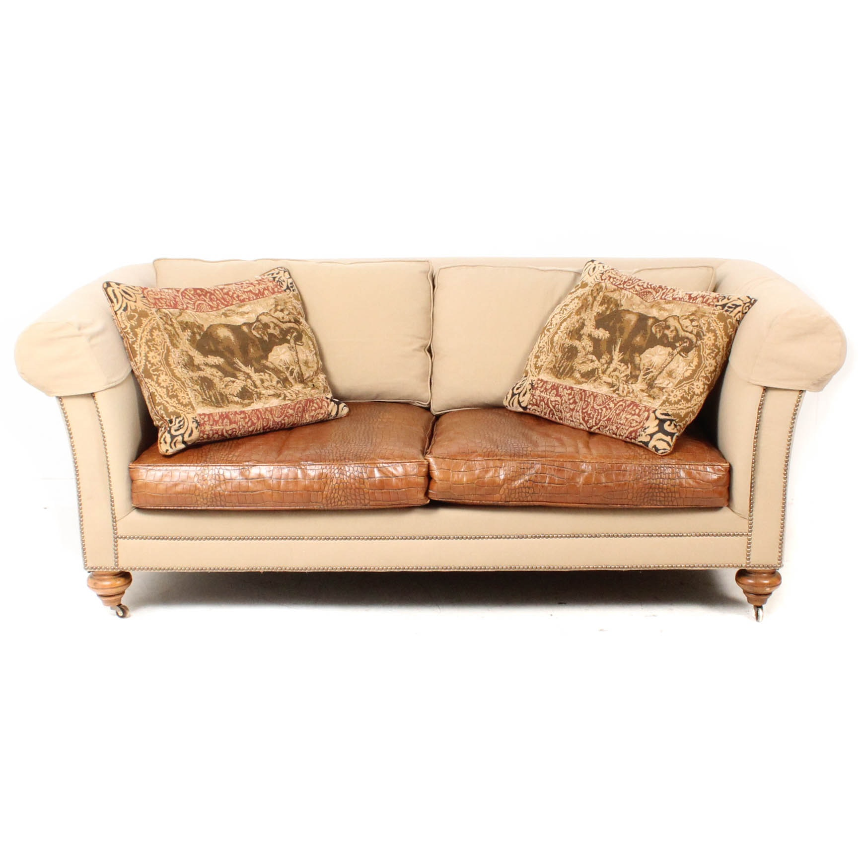 Custom Upholstered Sofa with Faux Alligator Seats