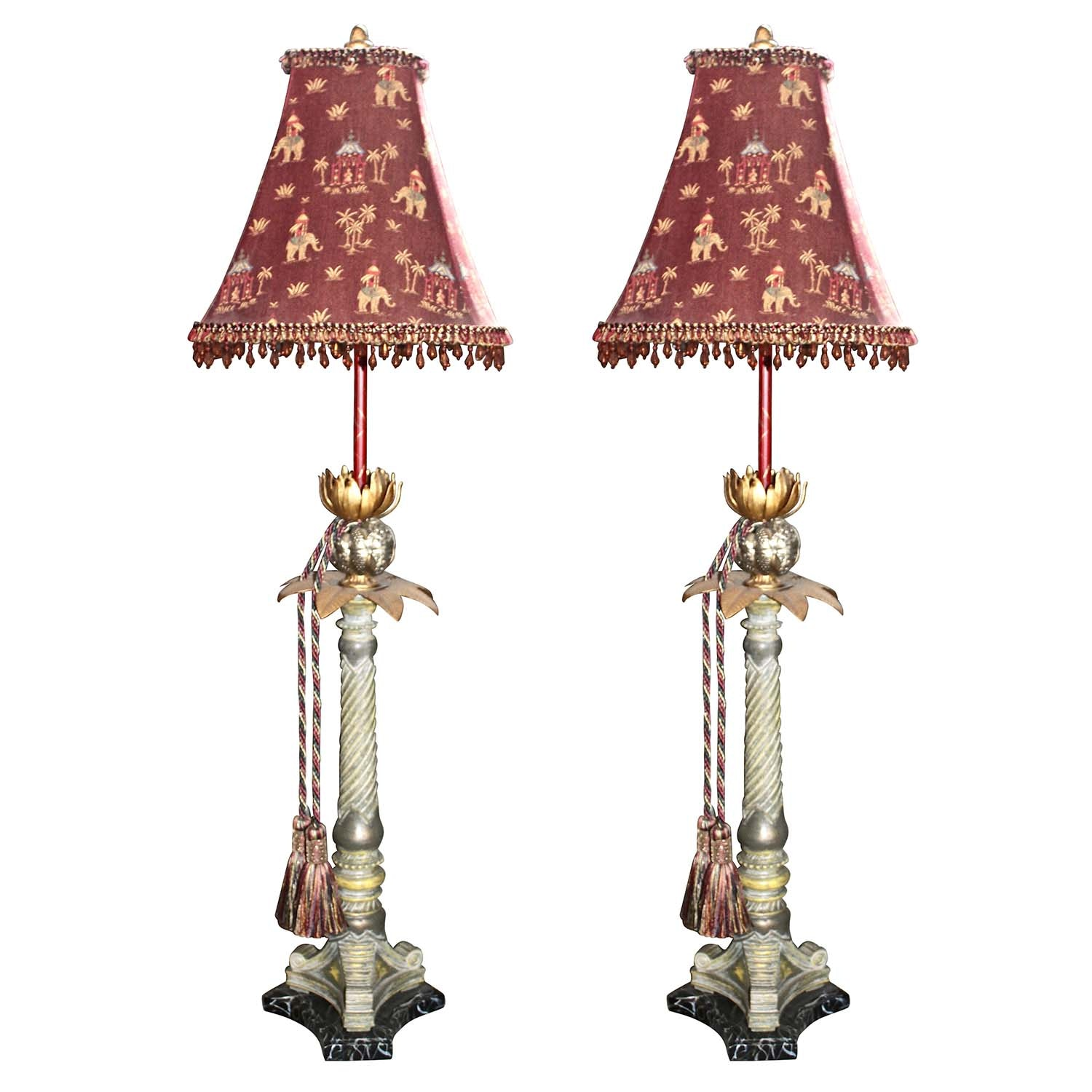 Two Buffet Style Palm Tree Table Lamps