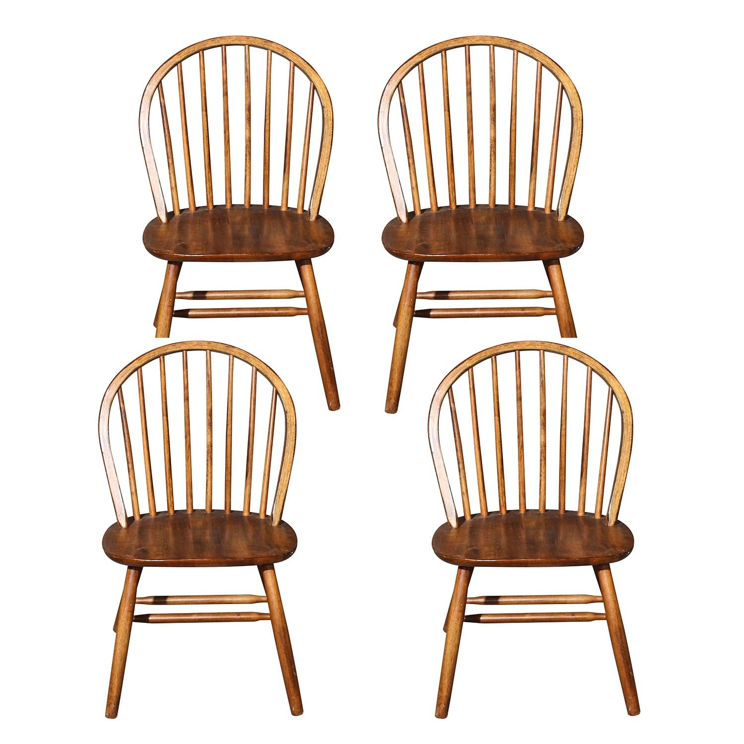 Four Windsor Style Ash Wood Chairs