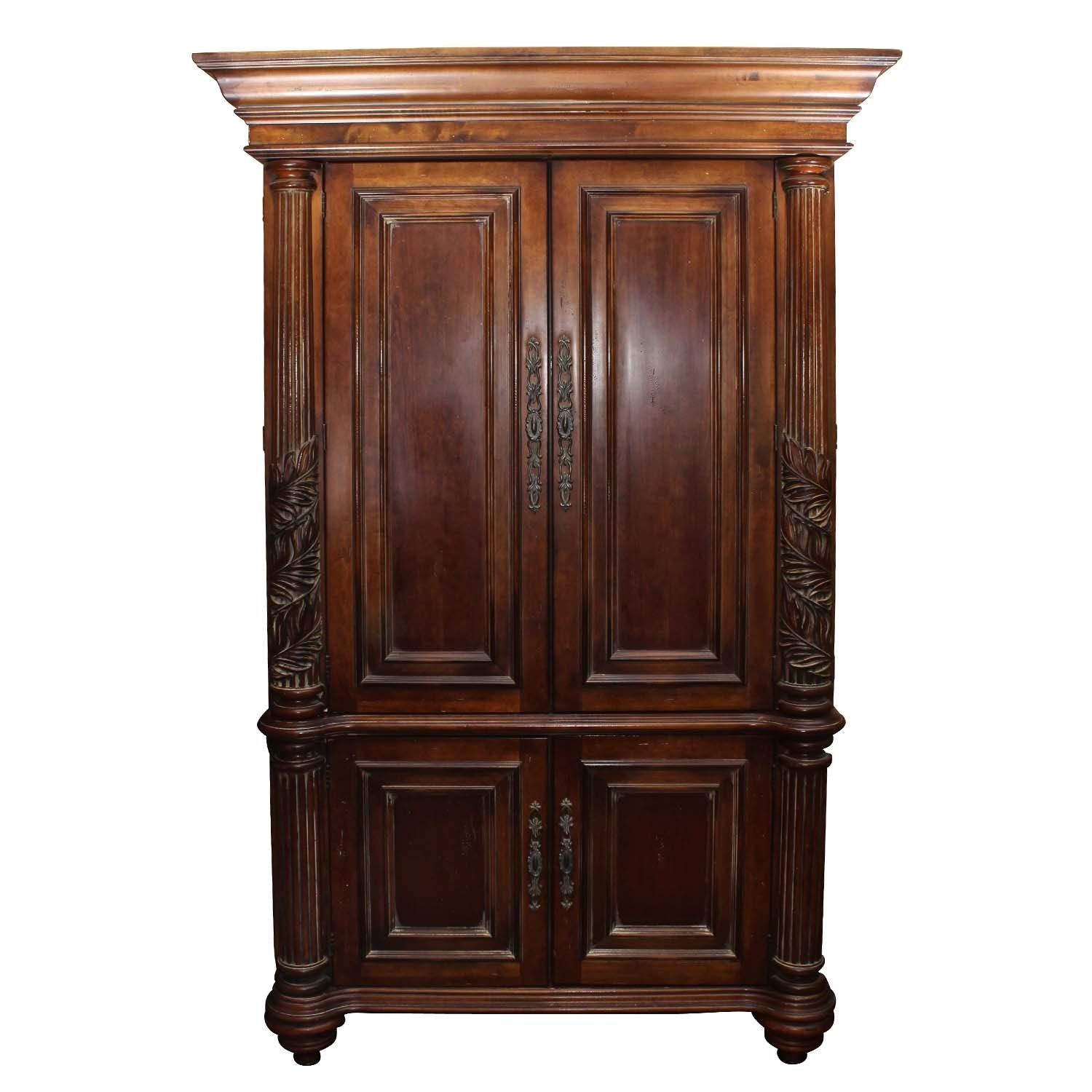 Hooker Furniture Carved Armoire and Entertainment Cabinet