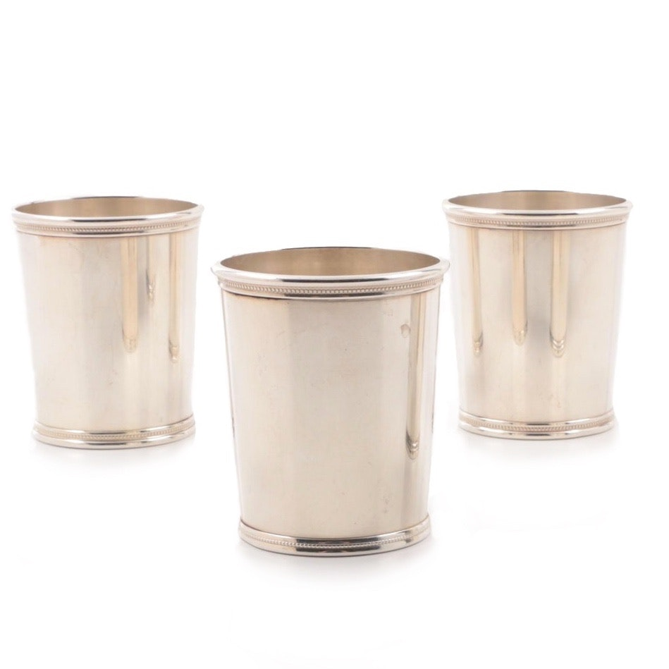 Three Circa 1960's Mark J. Scearce Sterling Silver Presidential Mint Julep Cups