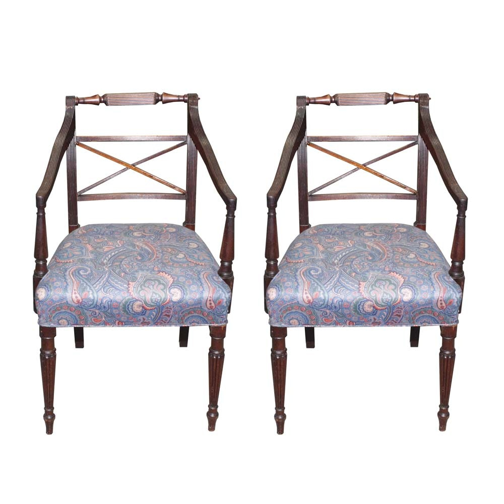 Pair of Mahogany Regency Revival Arm Chairs