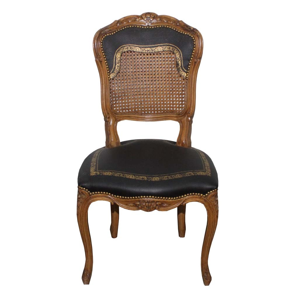 Queen Anne Style Leather Seat and Back Chair