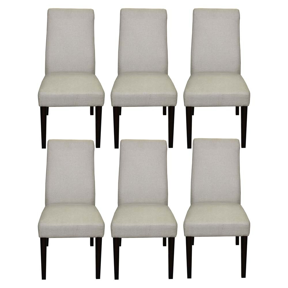 Set of Six Linen Upholstered Dining Chairs