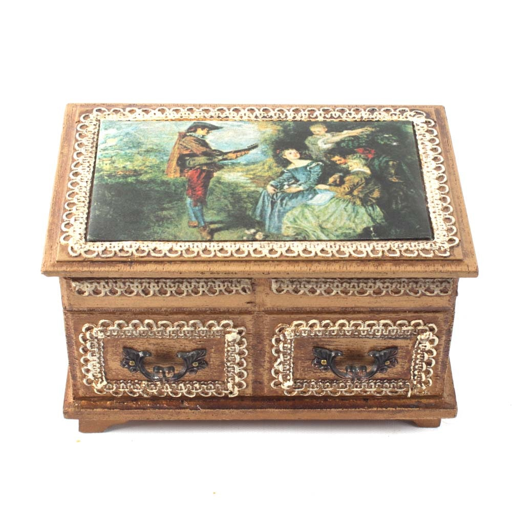 After Antoine Watteau Jewelry Music Box ''Le Foret d'amour""