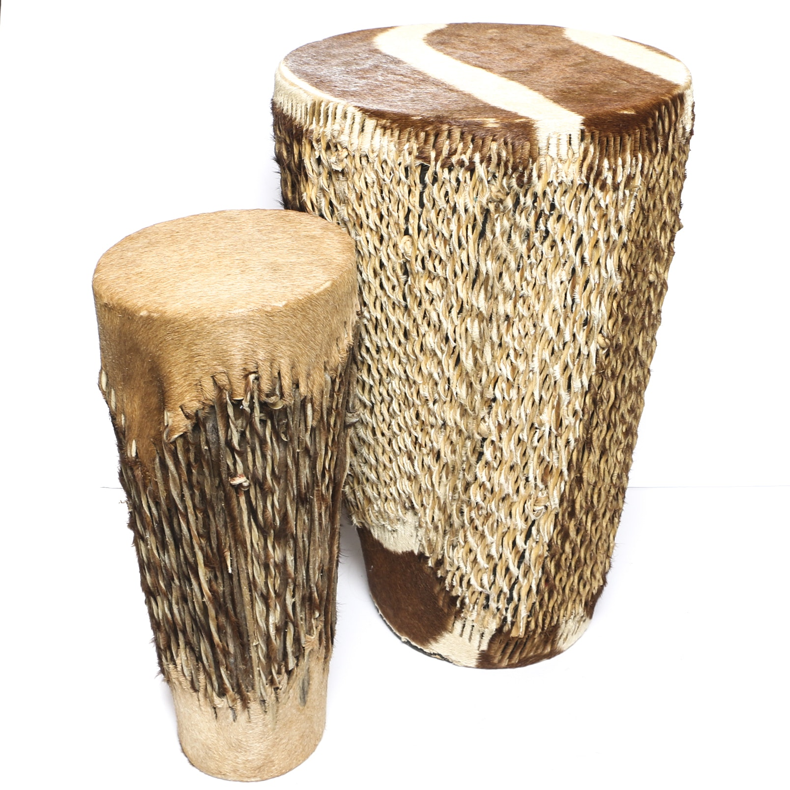 Handmade Drums with Bongo and Impala Hide Heads