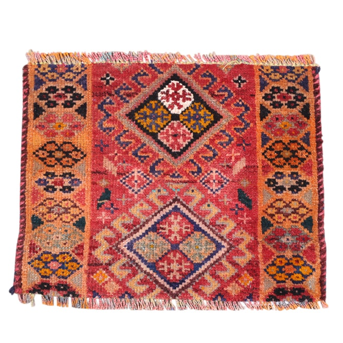 Hand-Knotted Persian Luri Wool Mat, possibly a Vagireh