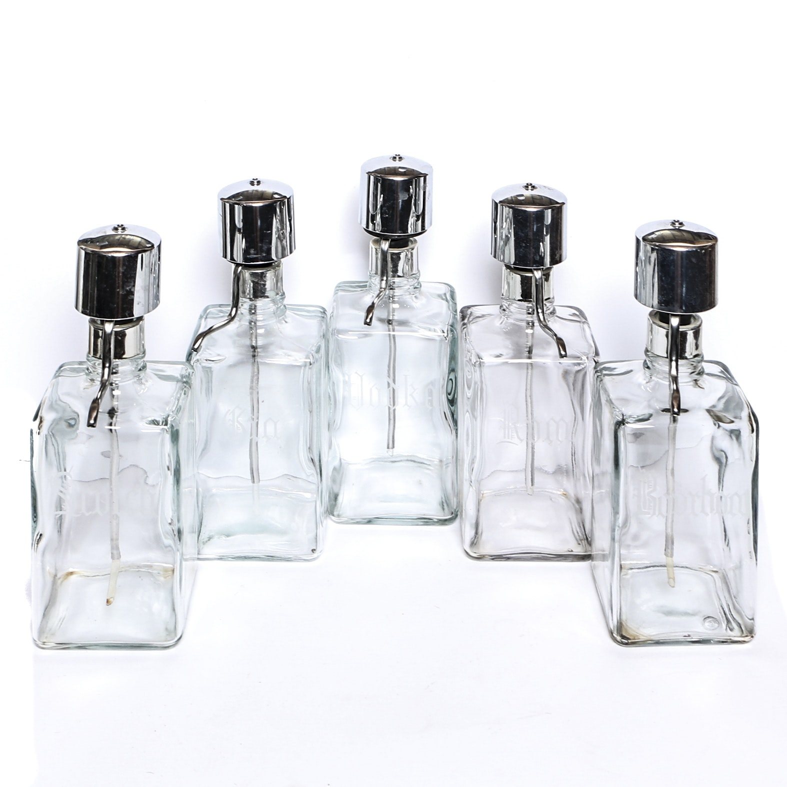 Etched Glass Liquor Dispensers