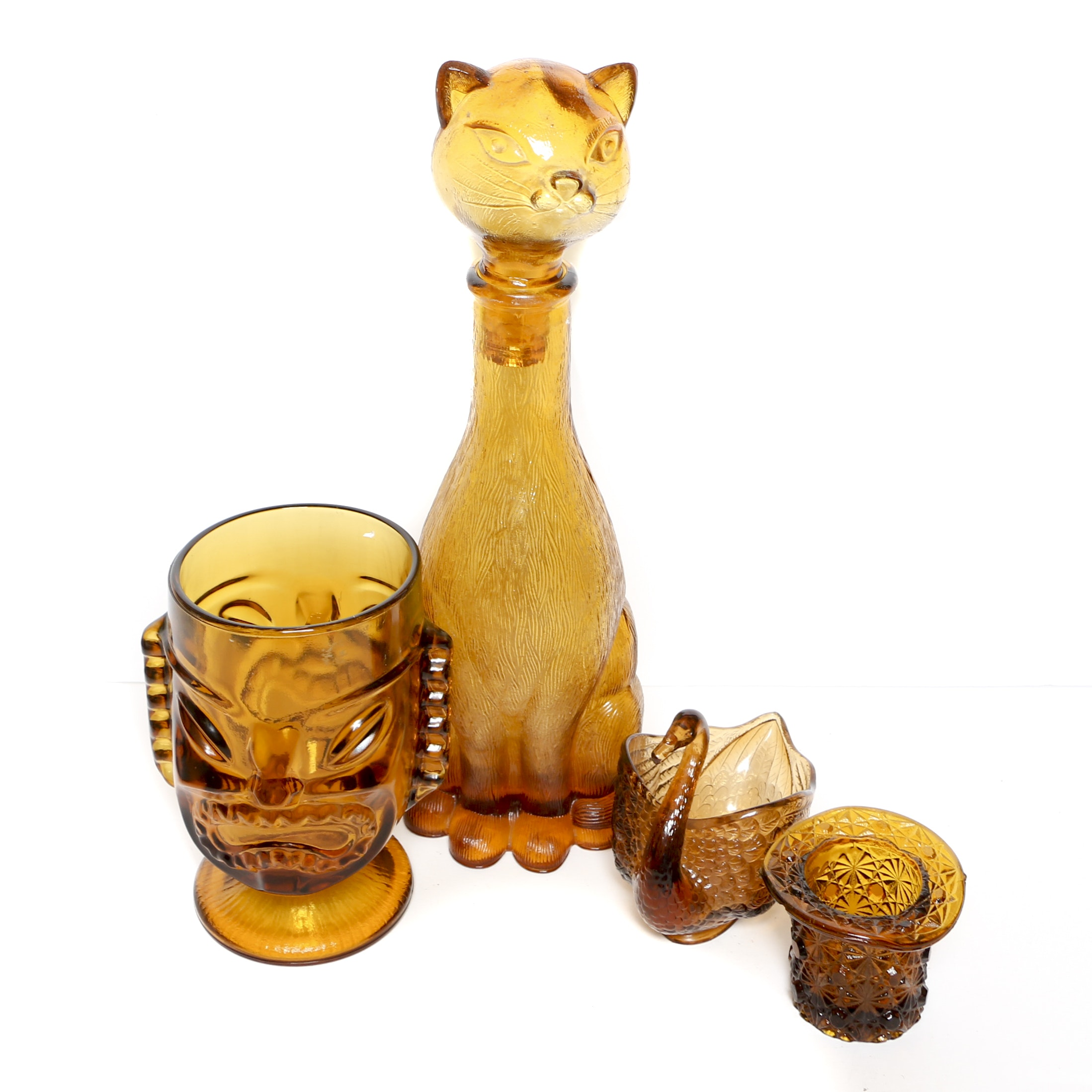 Mid Century Amber Glass Cat Decanter, Tiki Cup, Swan Dish and Toothpick Holder
