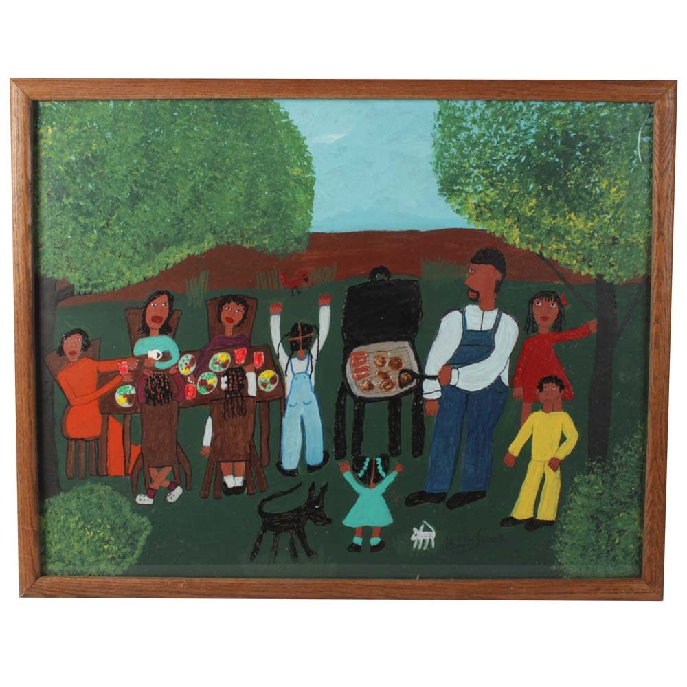 """Addie Jame Painting and Mix Media """"The Cookout"""""""