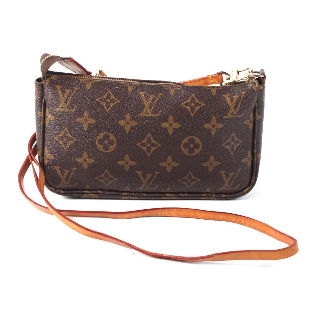 Louis Vuitton of Paris Monogram Coated Canvas and Leather Pochette Shoulder Bag