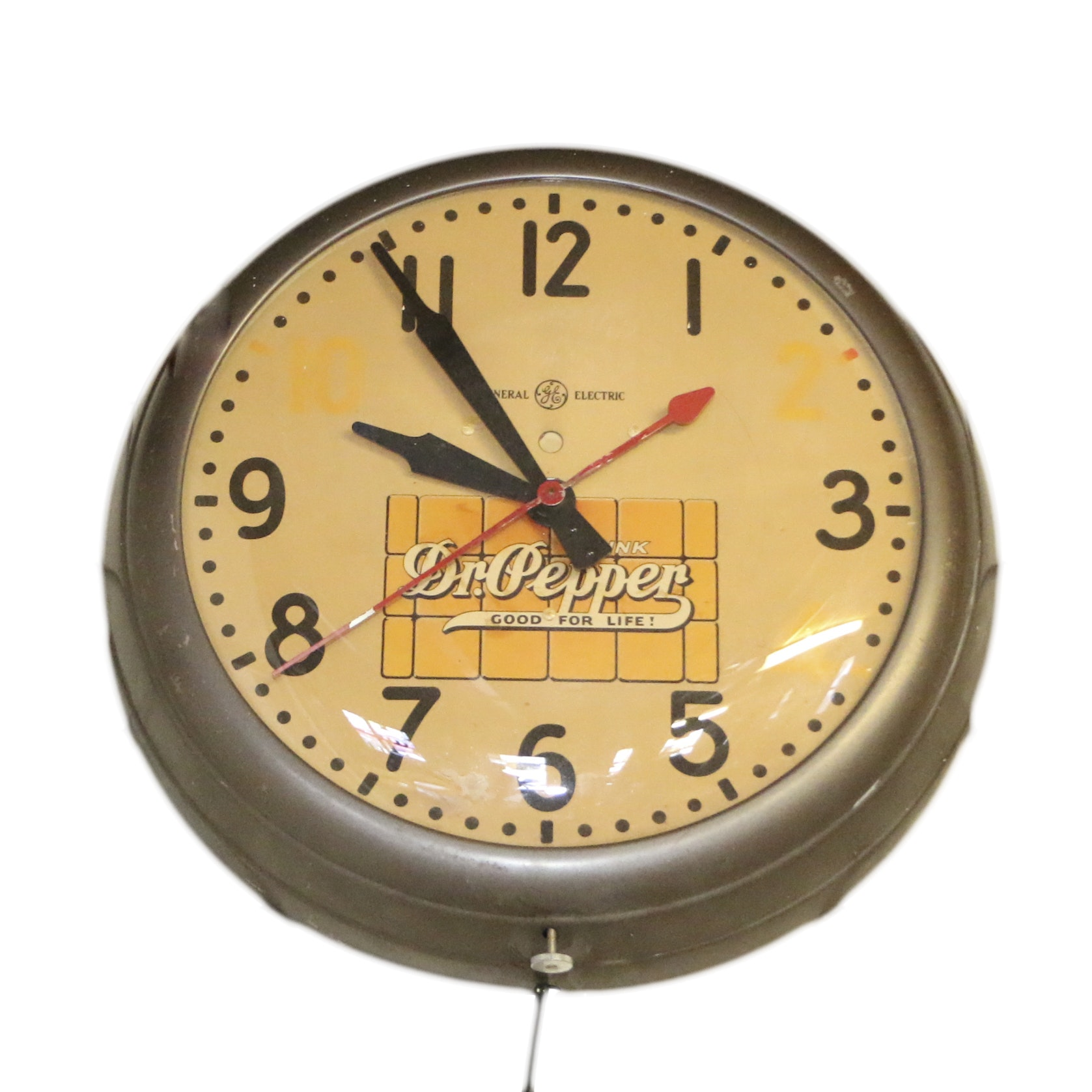 """Vintage General Electric """"Dr. Pepper"""" Advertising Wall Clock"""