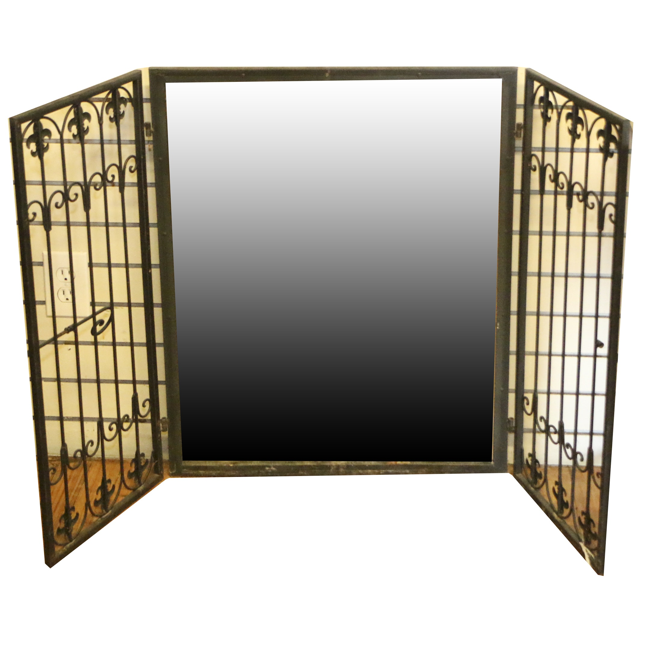 Shuttered Wrought Iron Wall Hanging Mirror