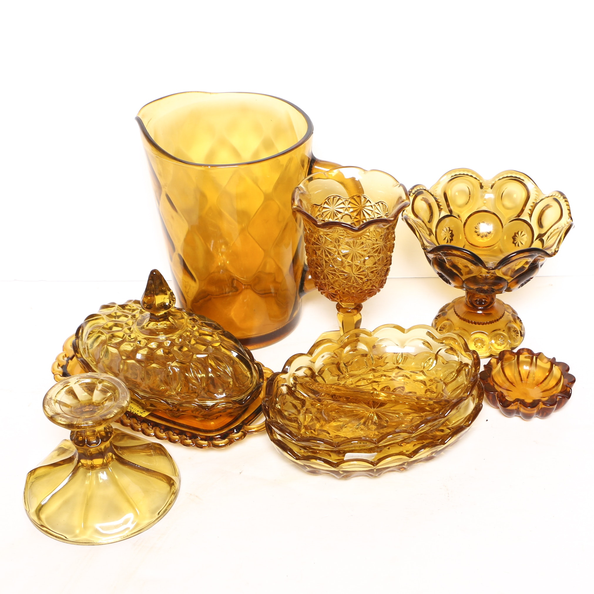 """Smith Glass """"Moon and Stars"""" Compote and Vintage Amber Glass Tableware"""