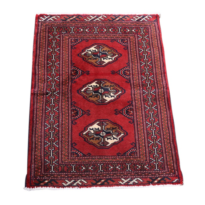 Hand-Knotted Persian Bokhara Wool Rug