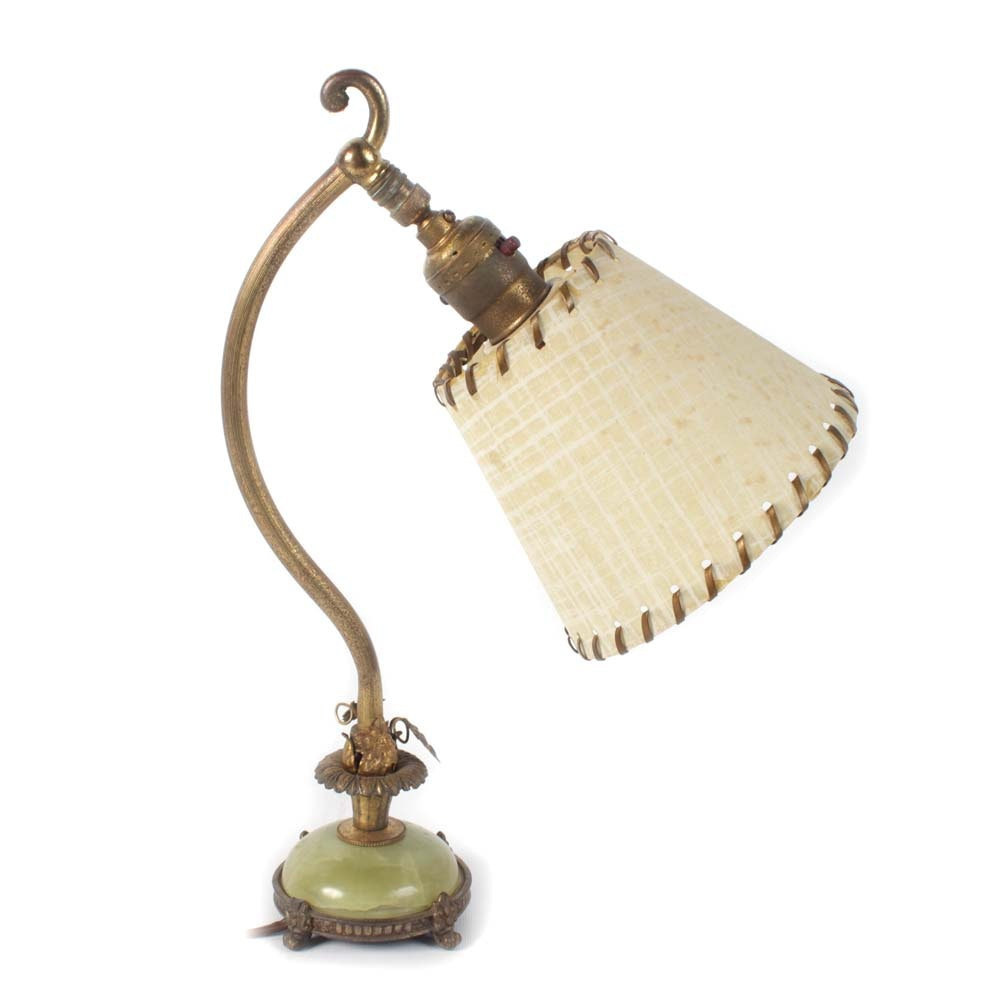 Vintage Brass Desk Lamp with Stone Base