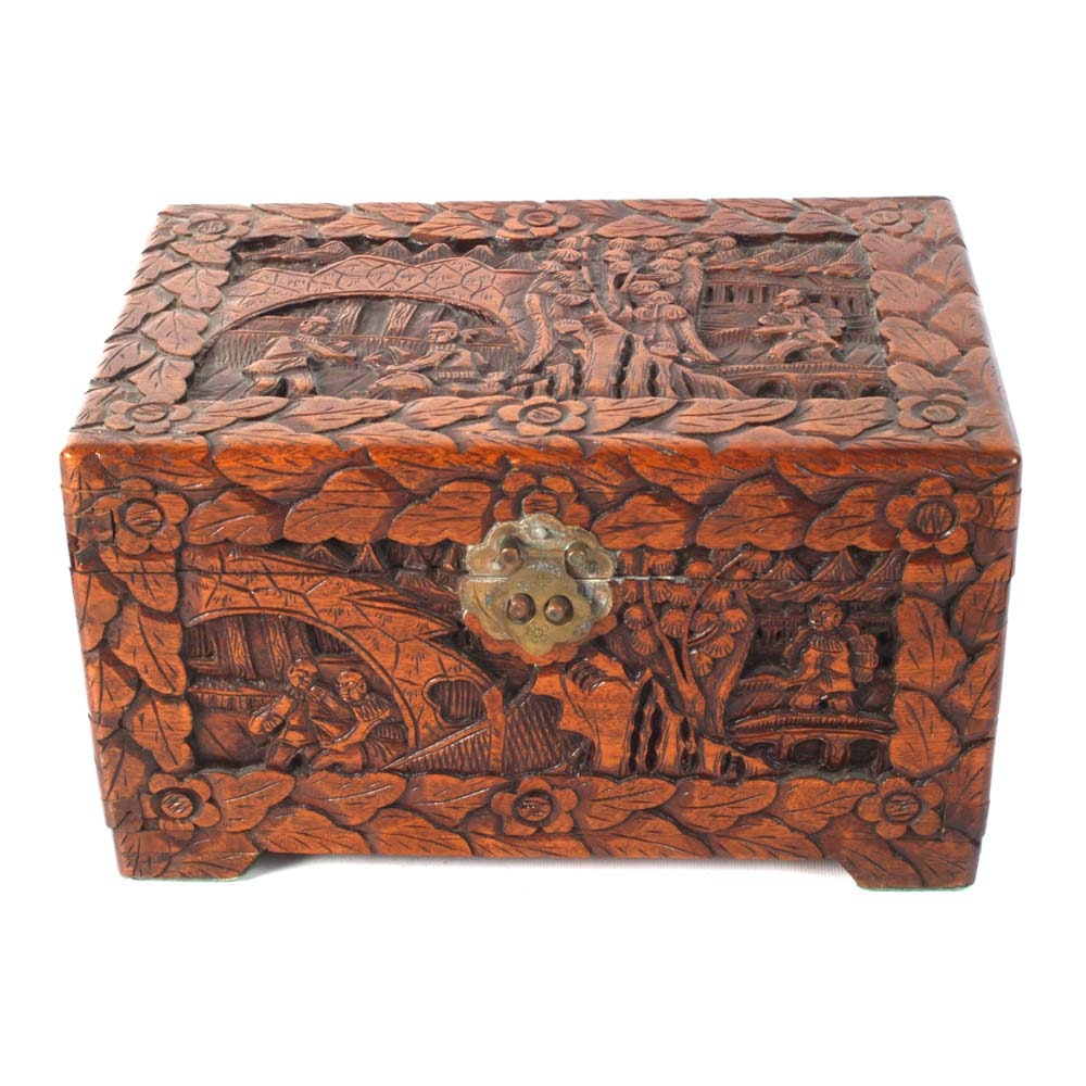 Vintage Chinese Carved Camphor Wood Box