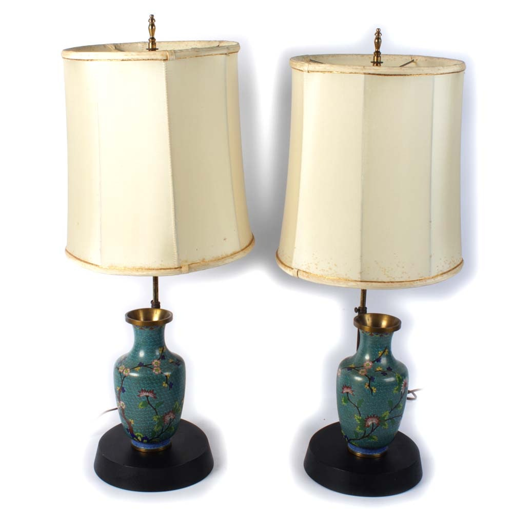 Cloisonné Vases with Table Lamps