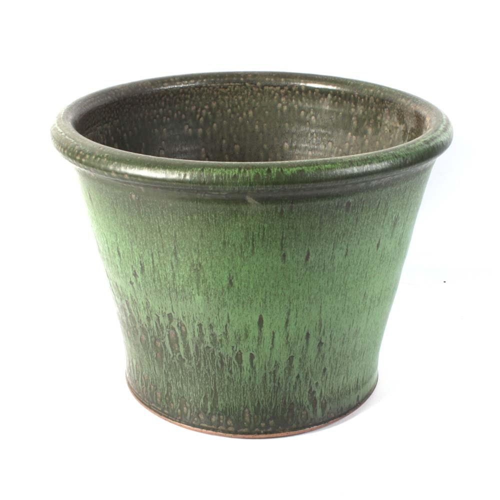 Signed Marcia Owen Green Glazed Stonweware Planter