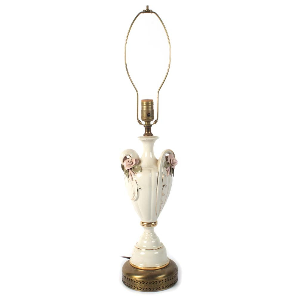 Porcelain Table Lamp with Gold Lustre