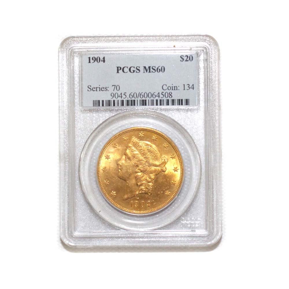 PCGS Graded MS60 1904 Liberty Head Twenty Dollar Gold Piece