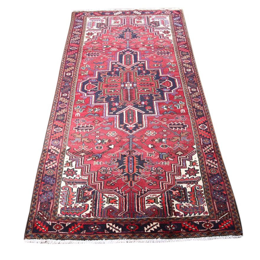 Hand-Knotted Persian Heriz Wool Rug