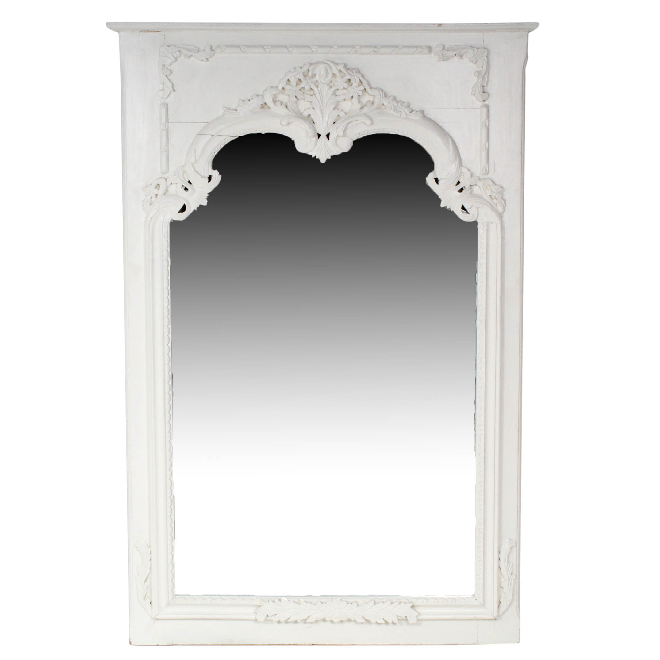 French Provincial Style Painted Carved Wood Framed Wall Mirror