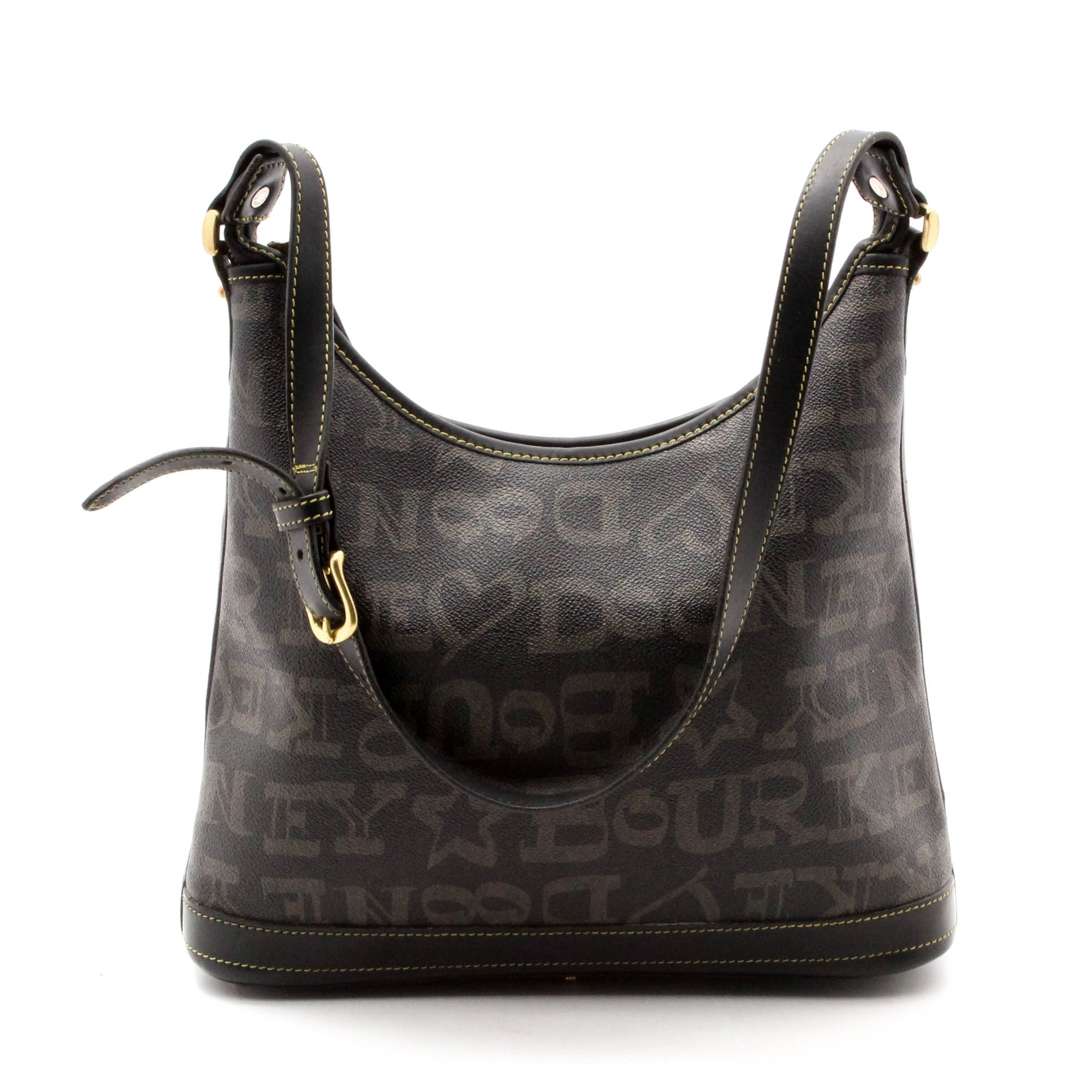 Dooney & Bourke Black Scribble Monogram Coated Canvas and Leather Shoulder Bag