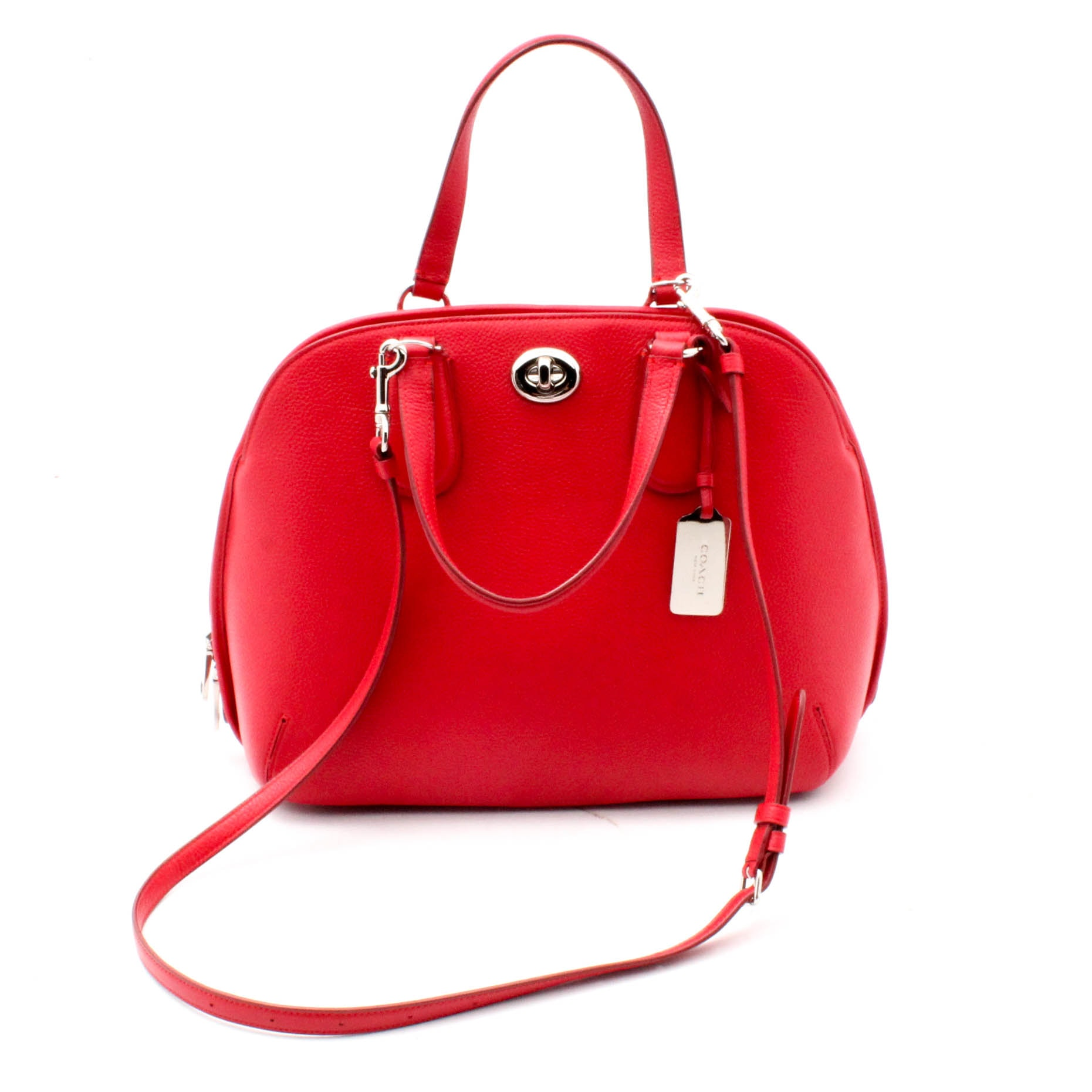 Coach New York Prince Street Red Pebbled Leather Satchel