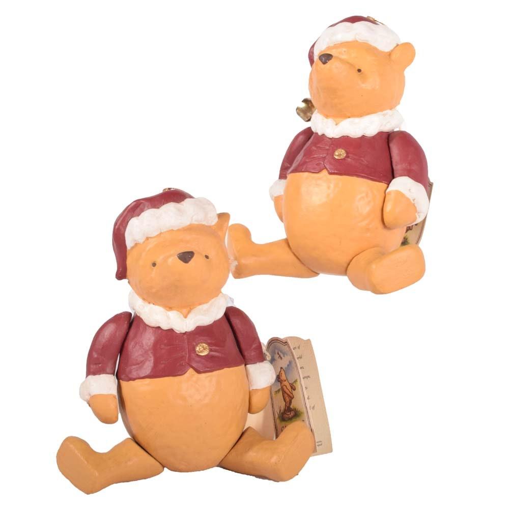 Disney Winnie the Pooh Shelf Sitter Santa Figurines