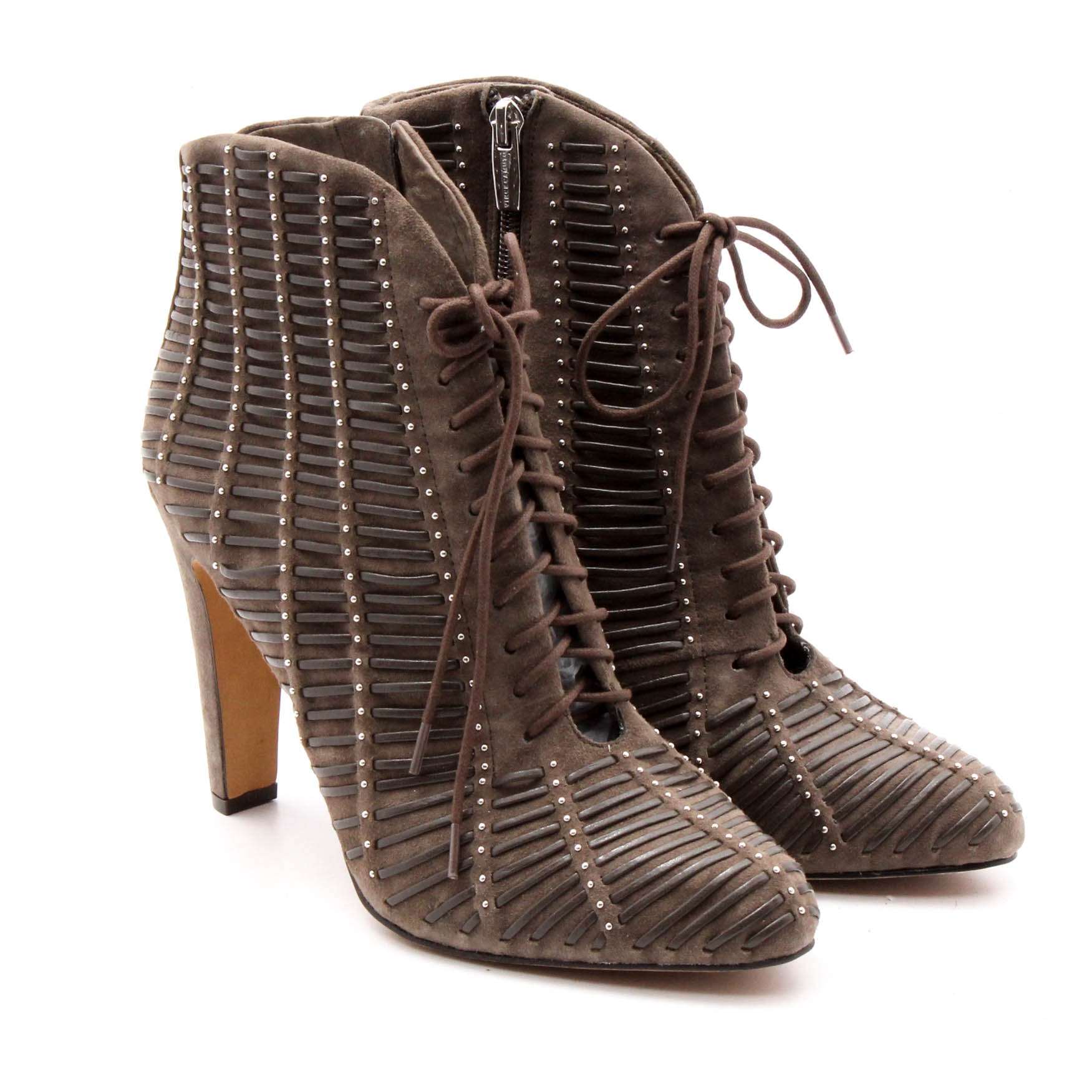 Vince Camuto Brown Suede and Leather Lace-Up Booties