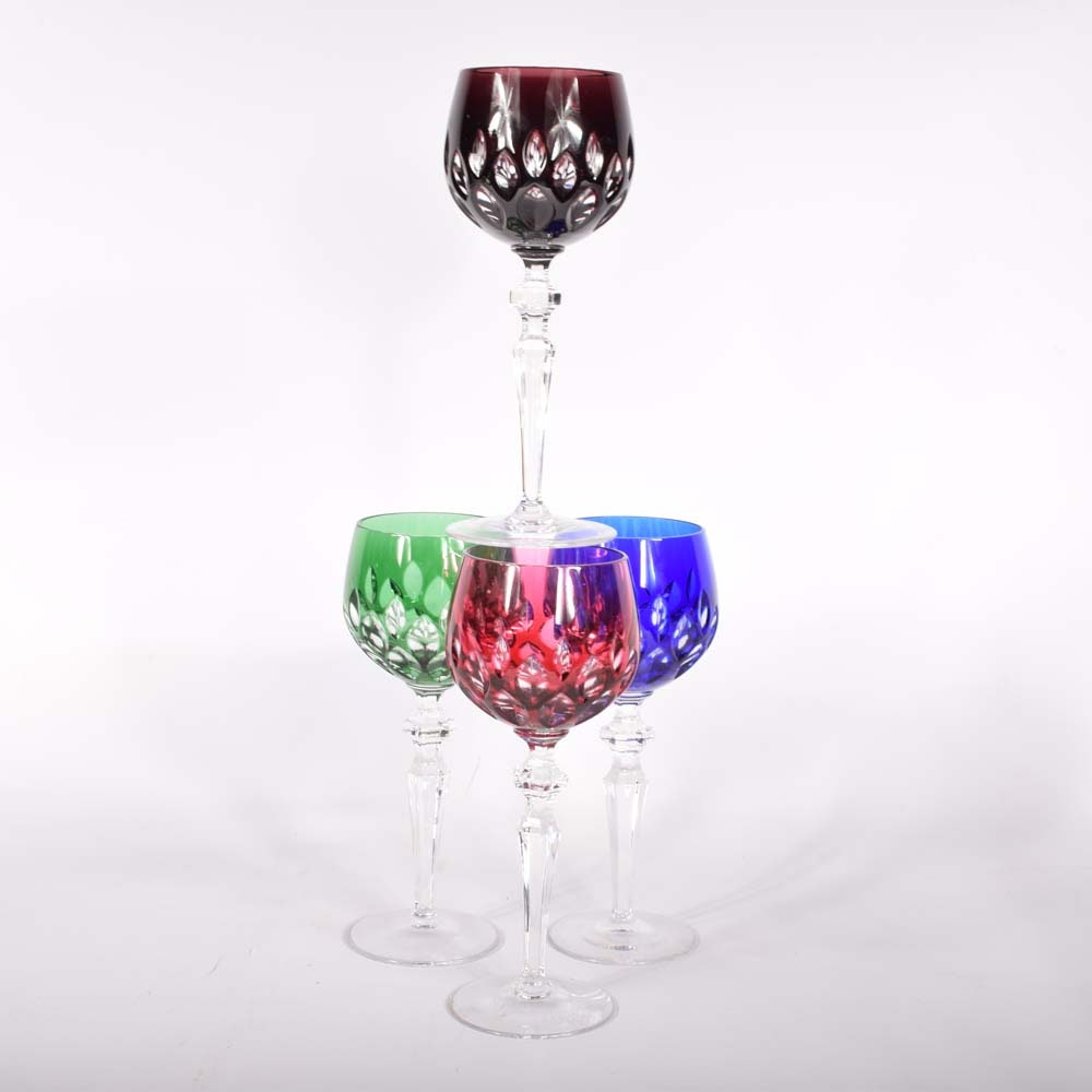 Bohemian Style Colored Cased Cut to Clear Crystal Hock Wine Glasses