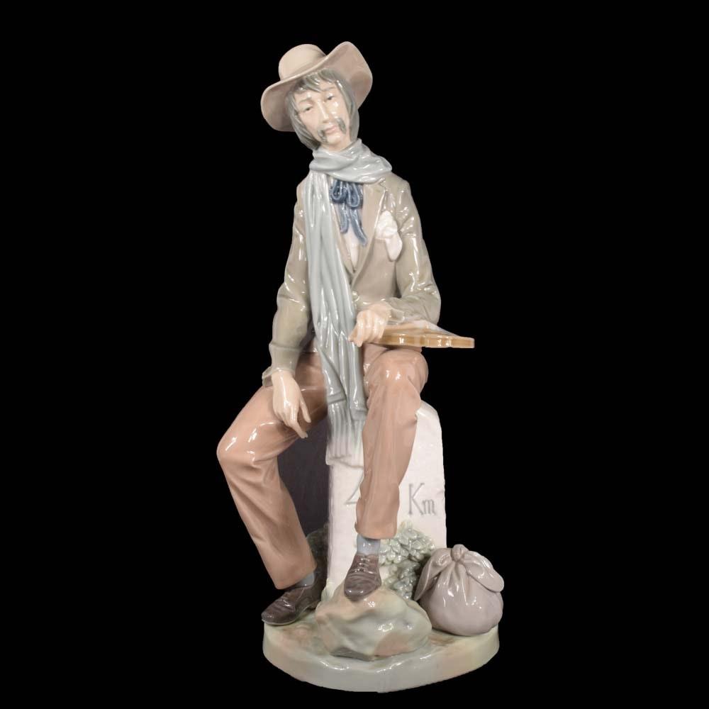 """Vintage Lladró """"Violinist On the Road"""" Porcelain Figurine"""