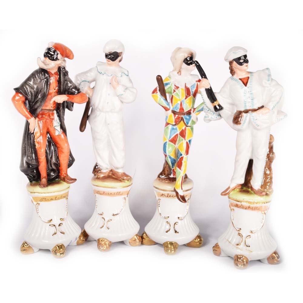 Set of Porcelain Commedia Dell'Arte Figurines