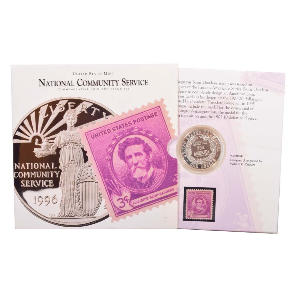 1996 US Mint National Community Service Dollar Coin and Stamp
