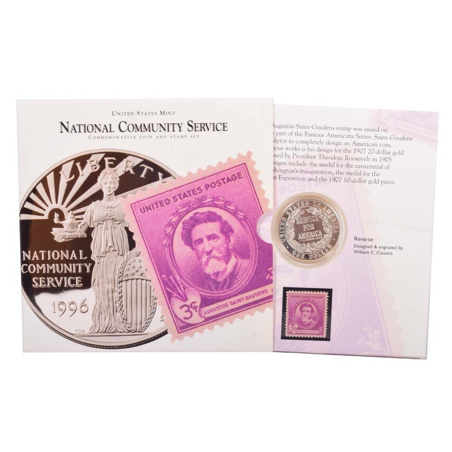 1996 US Mint National Community Service Dollar Coin And Stamp EBTH