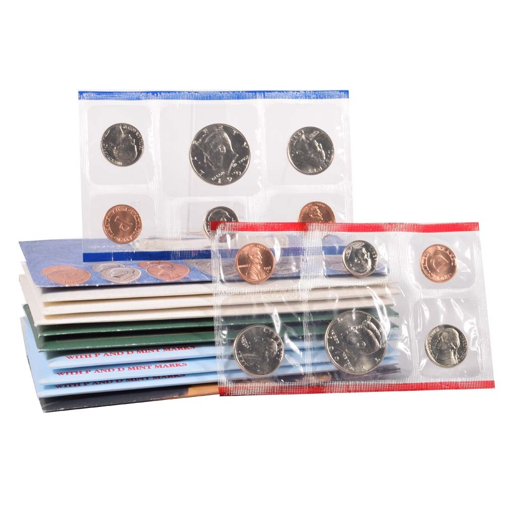 1991, 1992, 1993, 1994, 1995 Uncirculated P and D Mint Coin Sets