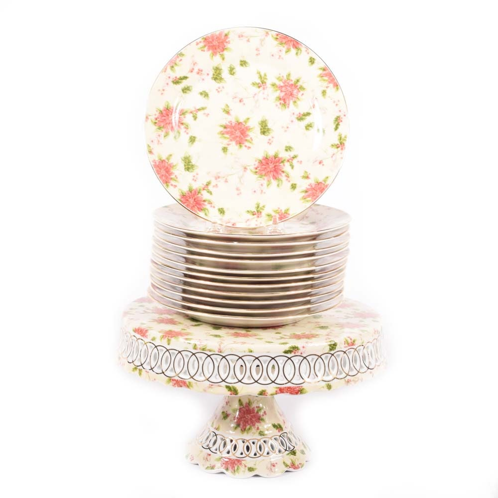 Paul Jay & Sons Poinsettia Cake Stand and Plates