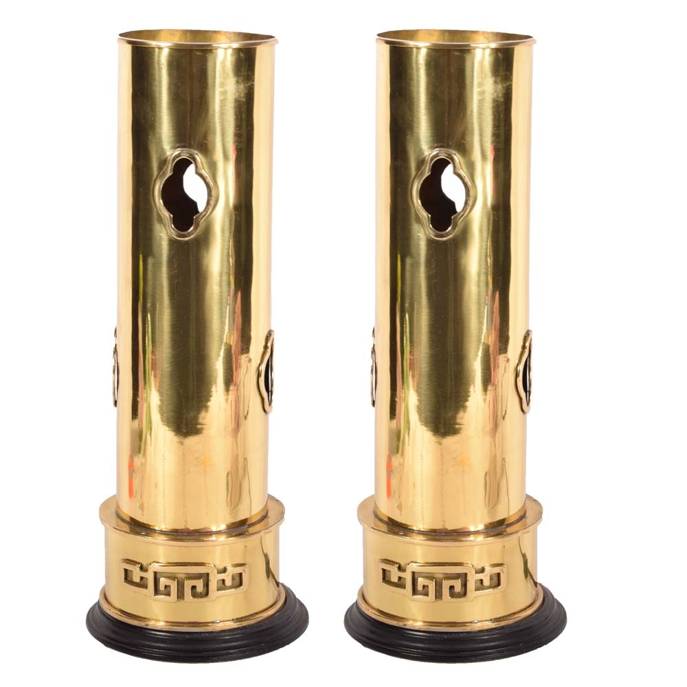 Chinoiserie Pierced Brass Cylinder Lamps