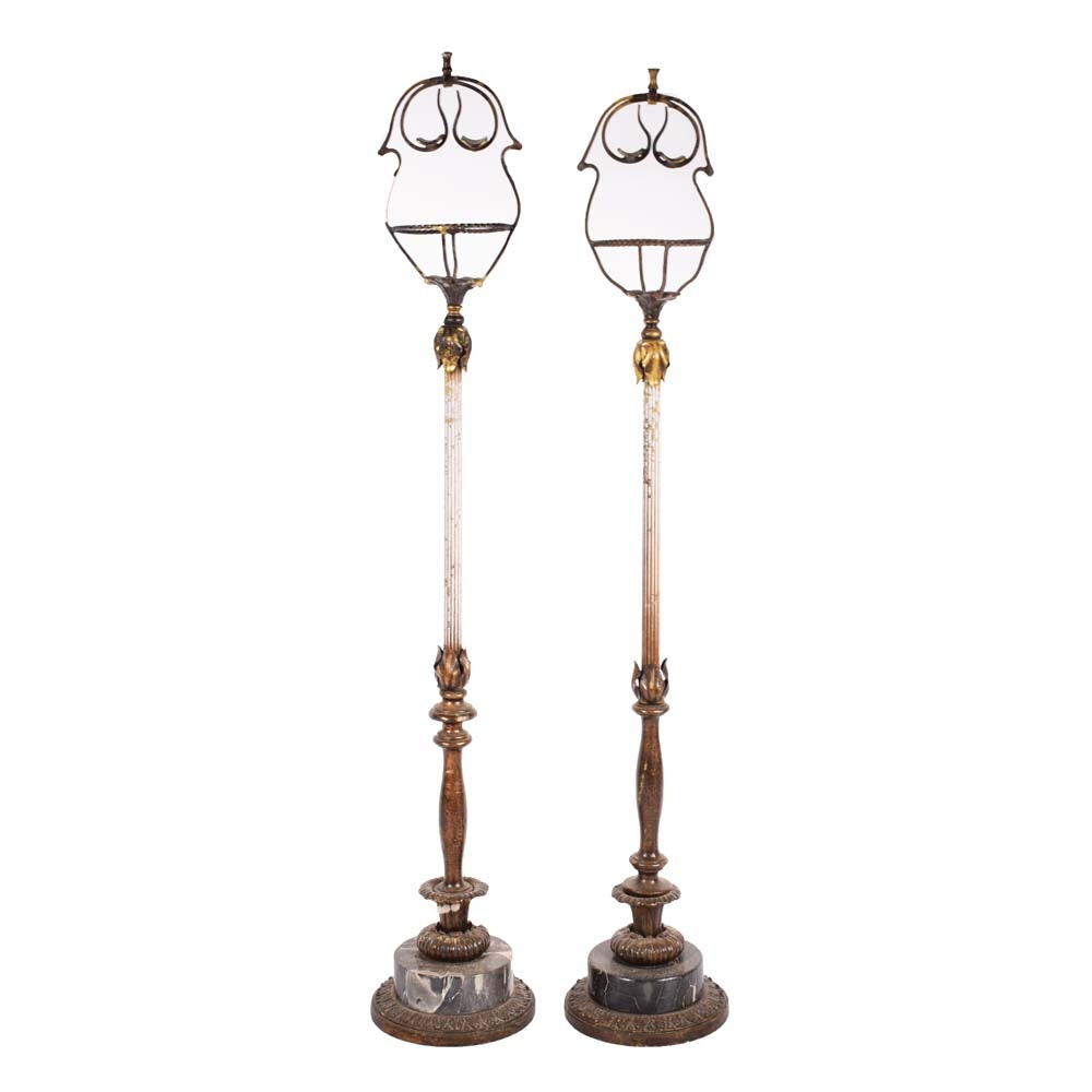 Vintage Brass and Marble Repurposed Lamp Stands