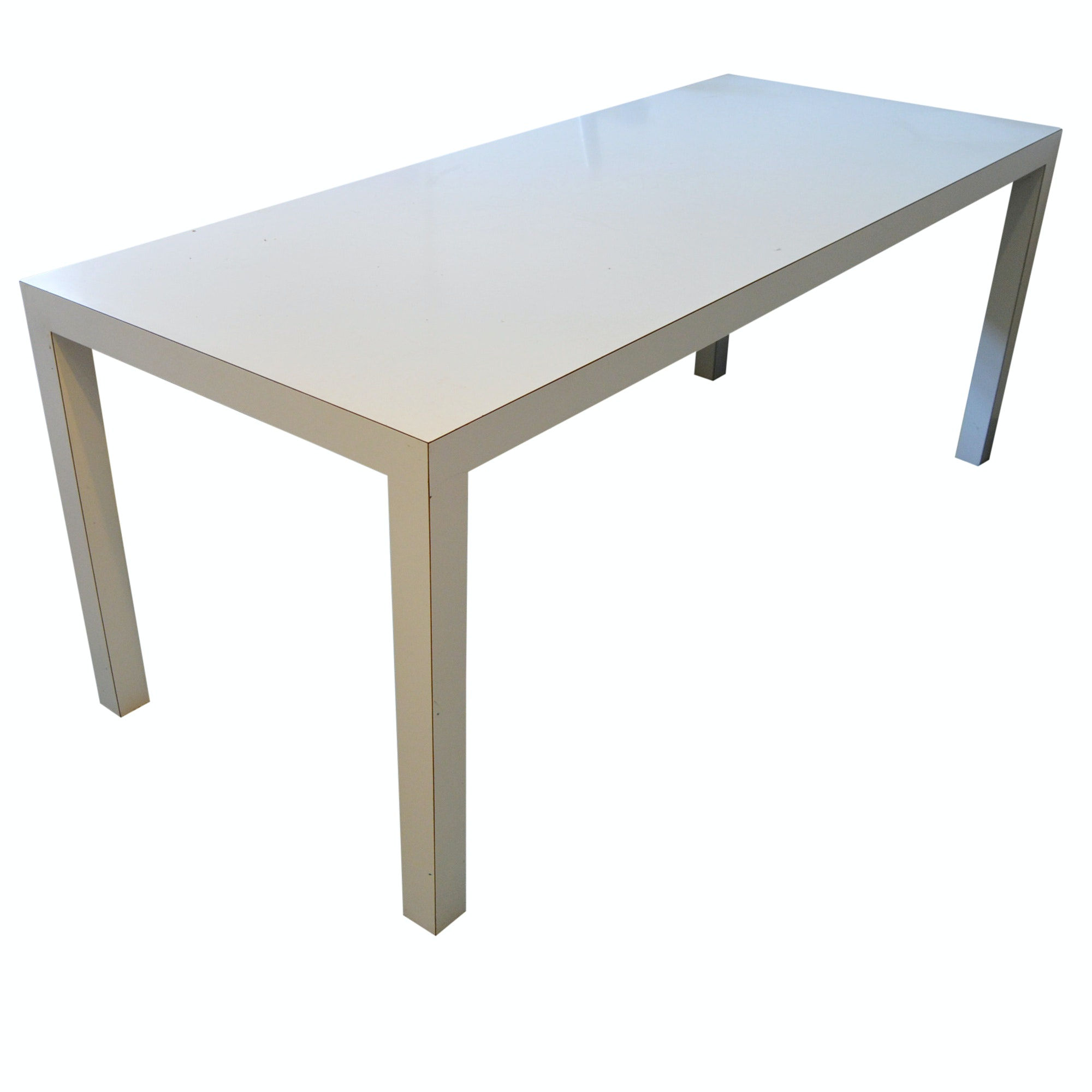 Attrayant Mid Century Modern White Laminate Parsons Table/Desk ...