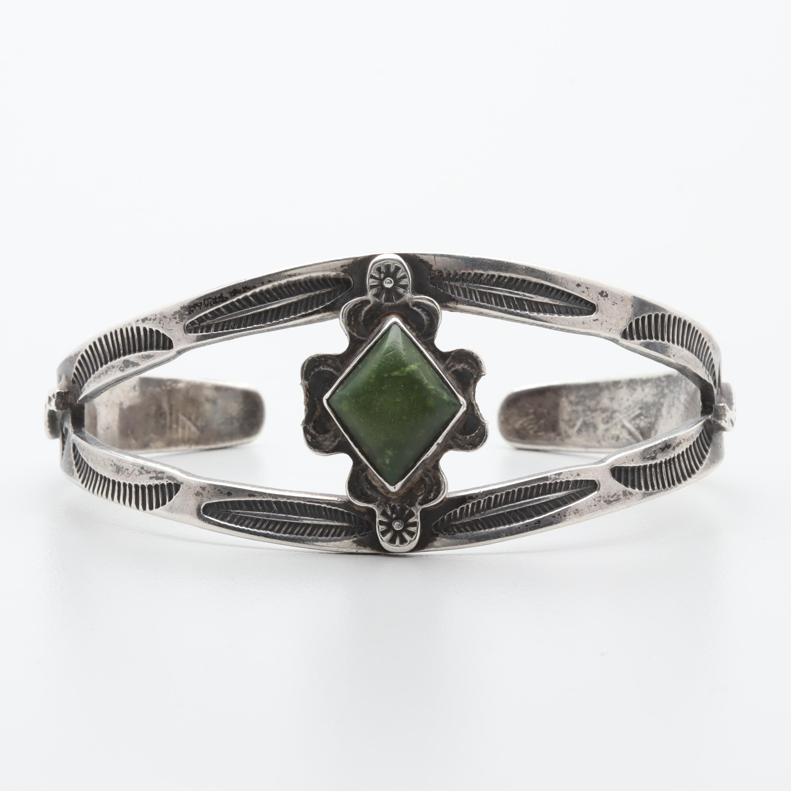 Southwestern Style Sterling Silver Green Turquoise Cuff Bracelet