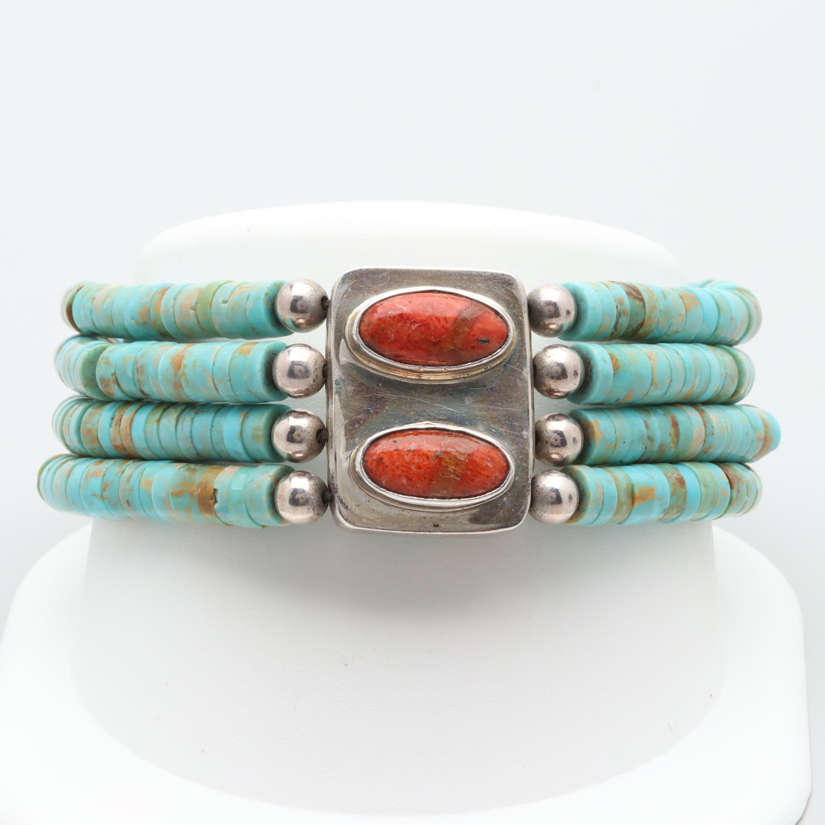 Southwestern Style Sterling Silver Reconstituted Coral and Turquoise Bracelet