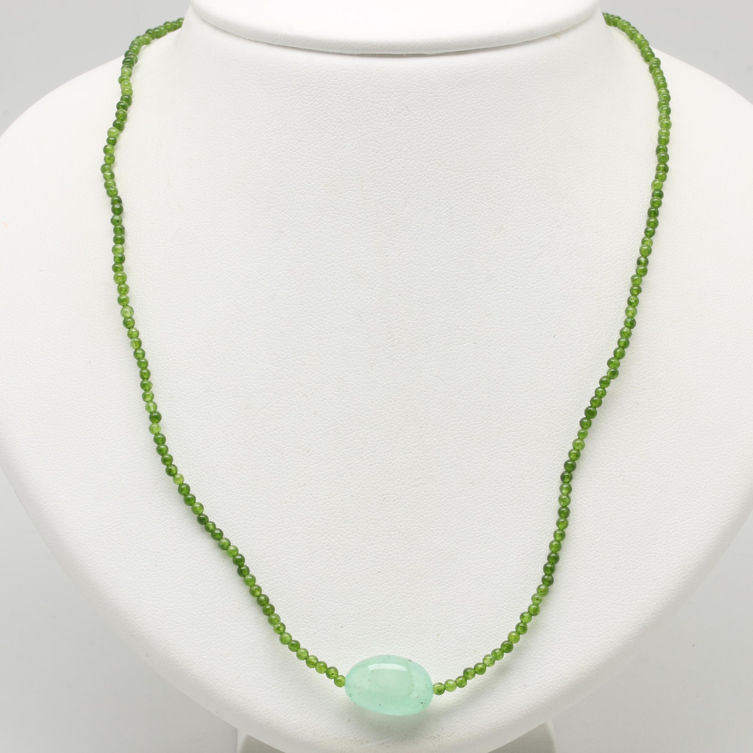 14K Yellow Gold Cultured Pearl, Prehnite and Green Quartz Necklace