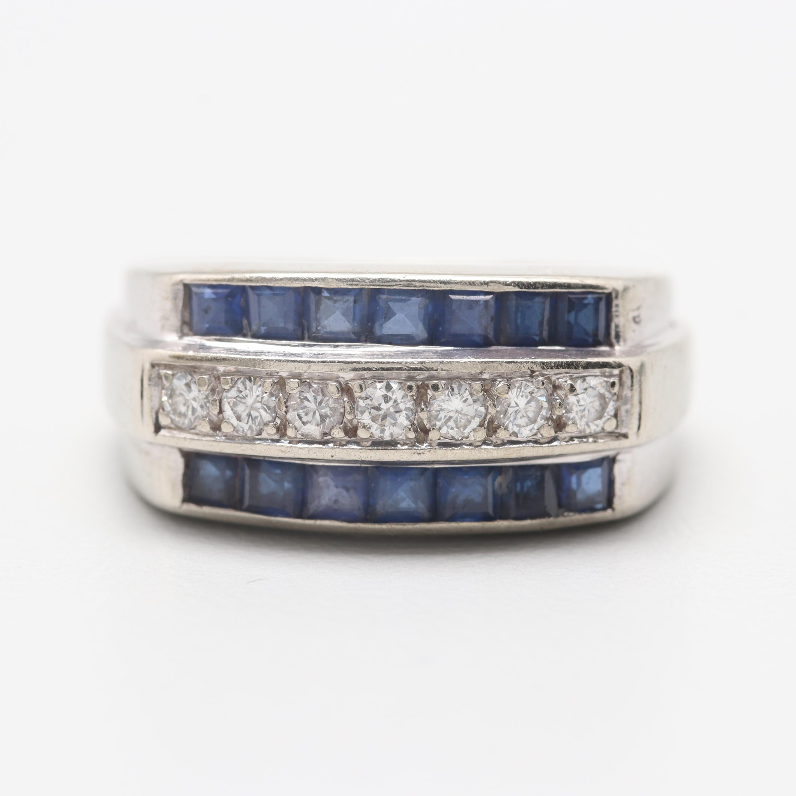 14K White Gold Diamond and Synthetic Sapphire Ring