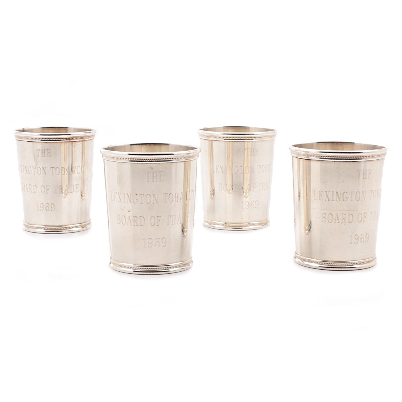 Four 1969 Sterling Silver Mint Julep Cups by Benjamin Trees, Lexington